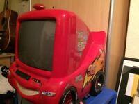 Cars tv DVD..lighting McQueen Disney tv and wall clock..kids
