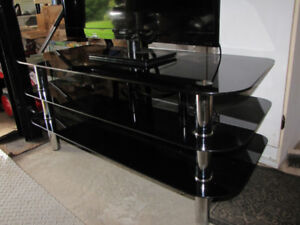 """TV stand black tempered glass holds up to a 52"""" tv"""