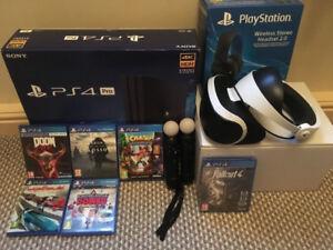 Playstation 4 Pro VR Bundle, 6 Vidz, VR Headset, Headphones OBO