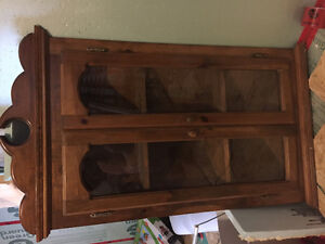 Hand crafted solid wood hanging cabinet with glass