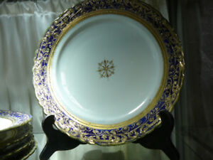 Hand-painted Nippon cobalt and gold plates