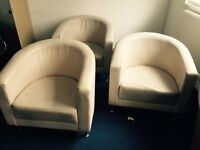 Leather Chairs - Cream/Beige x 4