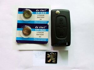 FOR-PEUGEOT-107-207-307-407-408-Expert-2BUTTON-FLIP-REMOTE-KEY-FOB-CASE-BATTERY