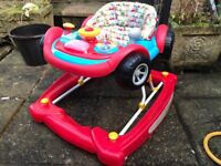 Mothercare 3 in 1 walker red and blue car, rocker