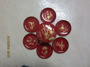 Japanese Laquerware. 6 small plates with container