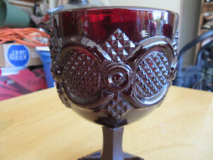 """Vintage Collectible Avon Ruby Red 6"""" Water Goblets"""