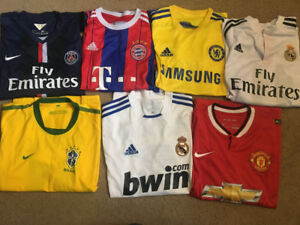 Old soccer jerseys, contact for prices all under $30