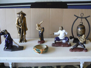 Martial Arts Shiwan monks Ceramic figures.