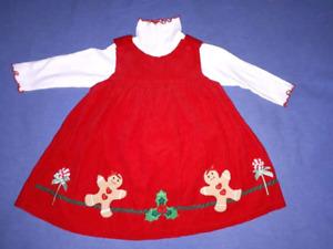5 BabyToddler Girls Holiday Christmas Theme Dresses 3/24mts, EUC