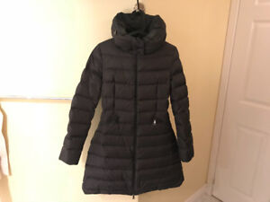 Moncler Flammette Coat Dark Grey Size 0