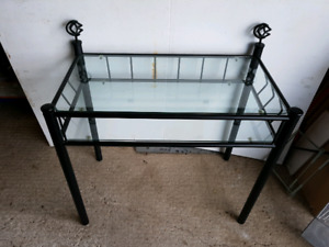 Cute black iron and glass table - desk.