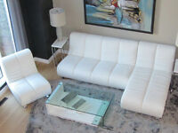 Sofa, Chaise & Chair including glass tables