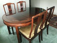 rosewood dining room table with 4 chairs