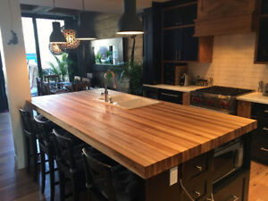 * Comptoir en bois sur mesure / Custom wood countertops *