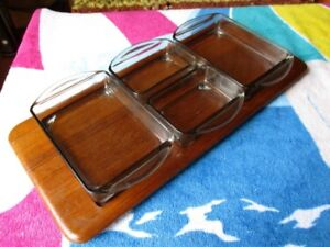 GRAMAS MID CENTURY TEAK CONDIMENTS TRAY WITH DISHES AND GRINDER