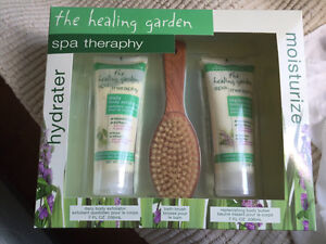 The Healing Garden spa therapy exfoliator body butter bath brush