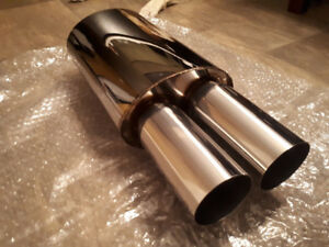 "3"" Dual Flat Tip Stainless Steel Muffler 2.5"" Inlet"
