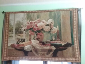 "Beautiful 51 1/2"" × 35 1/2 "" Tapestry/picture with rod. $55"