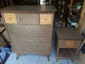 Vintage Mid-Century Modern style solid wood matching Dresser and