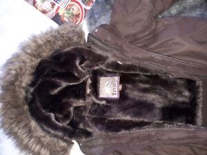 Used ladies TNA winter bomber jacket- brown