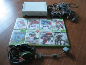 XBox 360 with Turtle Beach Headset, Controller and Games