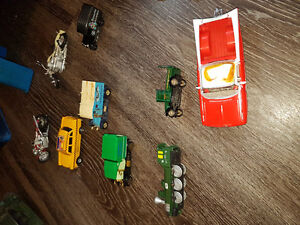 Collectible diecast cars and motorcycles, train, cab, truck