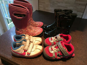 Size 8 BOGS winter boots, dress boots, and Nike sneakers