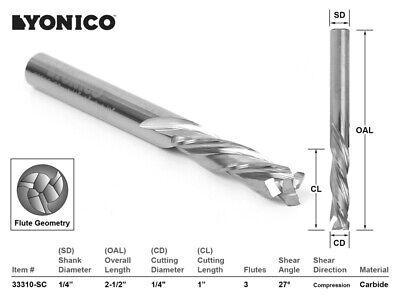 14 Dia. 3 Flute Compression Cnc Router Bit - 14 Shank - Yonico 33310-sc