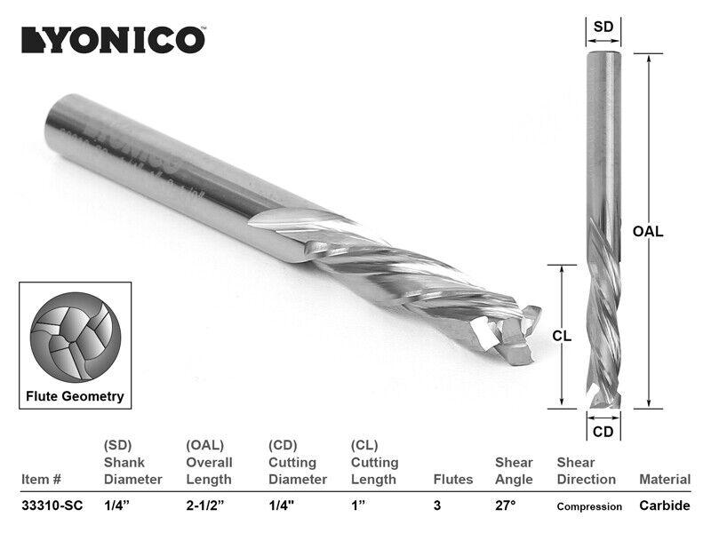 """1/4"""" Dia. 3 Flute Compression CNC Router Bit - 1/4"""" Shank - Yonico 33310-SC"""