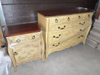 Cottage type yellow dressing table & night stand