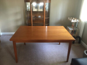 Mid-century modern Danish teak draw leaf table Ansager Mobler