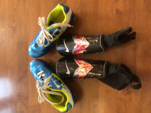 Kids Soccer Shoes and Shin Guards for sale