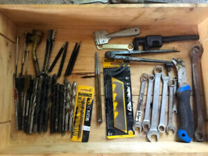 MISC box of spade bits, propane torch head over $250 in misc