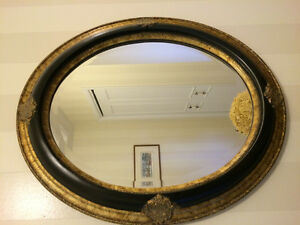 Black & Antique Gold Mirror for sale