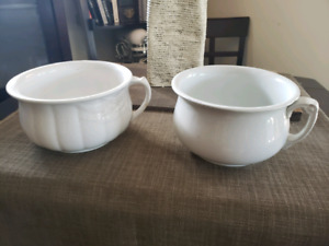 two Vintage Ironstone China Chamber pots made in England
