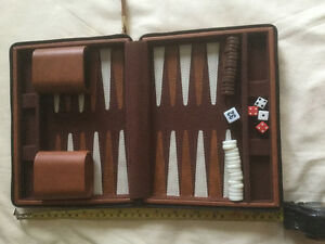 14 Inch Travel Magnetic Backgammon Game, Zipperd Case