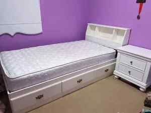 Complete Girls White Bed Set With Mattress and Side Table! Kitchener / Waterloo Kitchener Area image 1