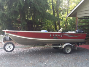 14' Lund boat with 25hp Yamaha motor