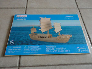 SAILBOAT WOODEN PUZZLE NEW SEALED IN PACKING