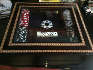 Poker chips set with wooden box