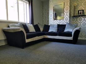 5 seater crushed velvet corner sofa