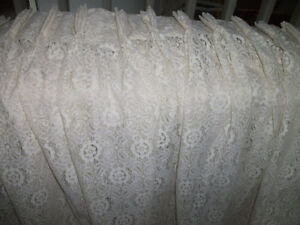 2 lacey material pinch pleated drapes