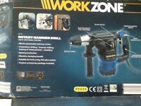 WORKZONE ROTARY HAMMER DRILL AND BITS