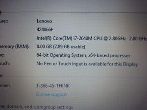 IBM Lenovo T520 portable i7 memoire 8GB 4CPU's