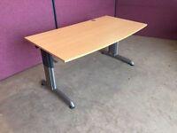 1600 modern beech curved front office desk delivered to Belfast