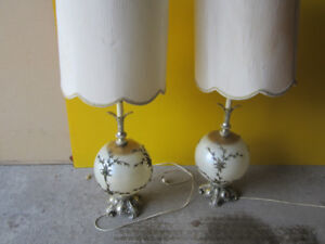 Pair of Beautiful antique lamps real glass and metal.