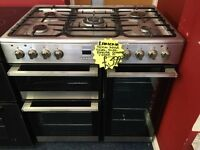 LAMONA 90CM DUAL FUEL RANGE STYLE COOKER IN SHINY SILIVER. H