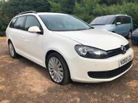 10 VOLKSWAGEN GOLF 1.6 TDI WHITE ESTATE 105PS BLUEMOTION TECH S LOW 80K PX SWAPS