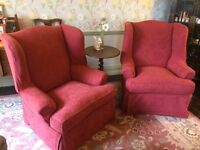 Two Fireside wingback chairs