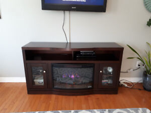 Dark wood electric fireplace tv stand